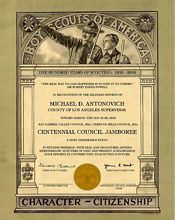 Custom scout certificates centennial council jamboree thank you bsa scout history yadclub Choice Image