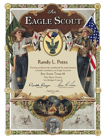 Custom scout certificates eagle scout certificate with old signatures cub scout certificate of appreciation eagle mentor yadclub Images