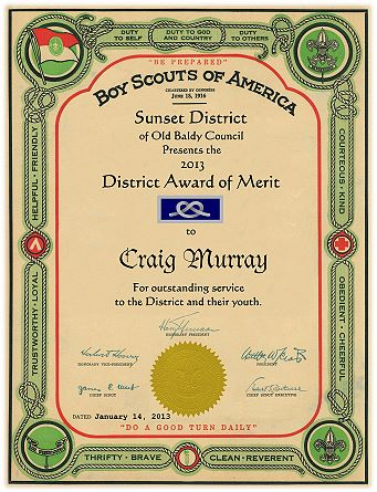 Scout eagle scoutmaster hornaday powder horn for District award of merit certificate template
